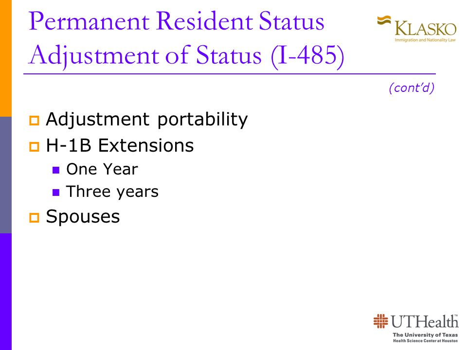 Permanent Resident Status Adjustment of Status (I-485)