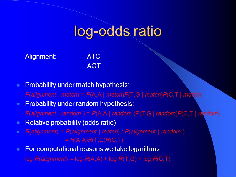 log-odds ratio Alignment: ATC AGT Probability under match hypothesis: