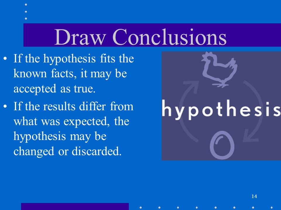 Draw Conclusions If the hypothesis fits the known facts, it may be accepted as true.