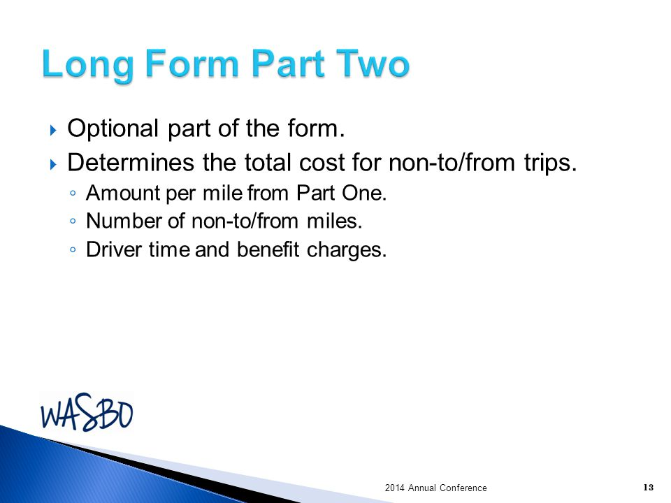 Long Form Part Two Optional part of the form.