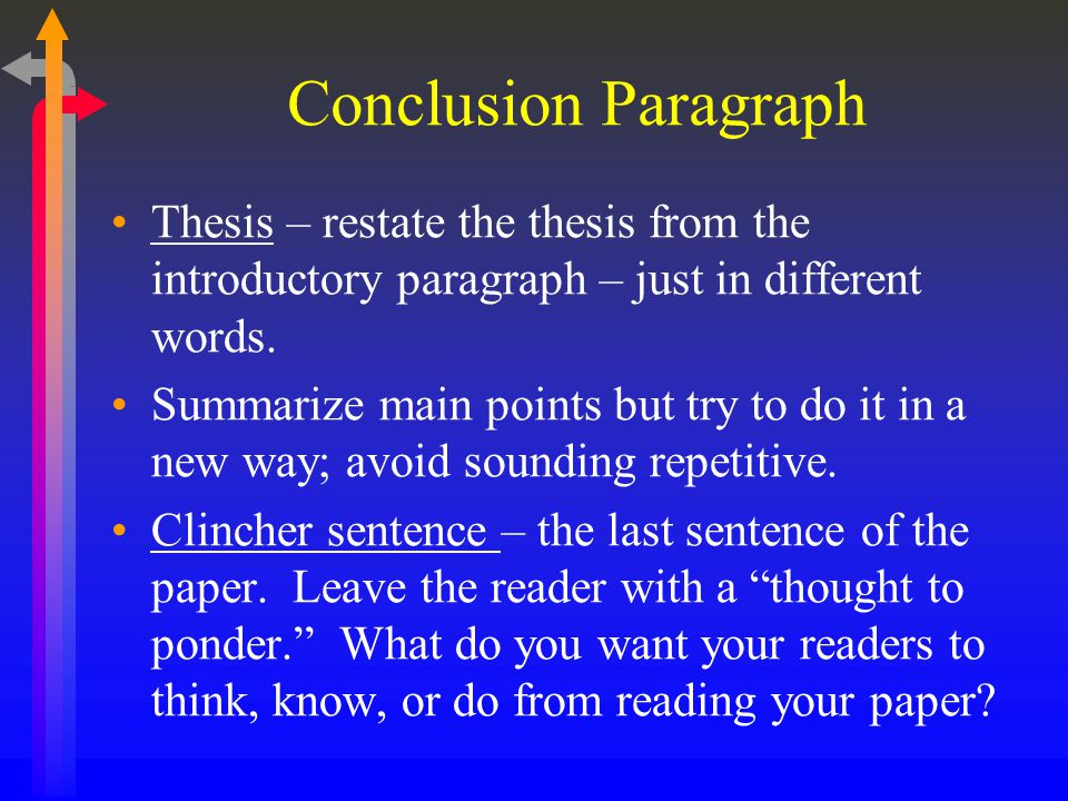 Conclusion Paragraph Thesis – restate the thesis from the introductory paragraph – just in different words.