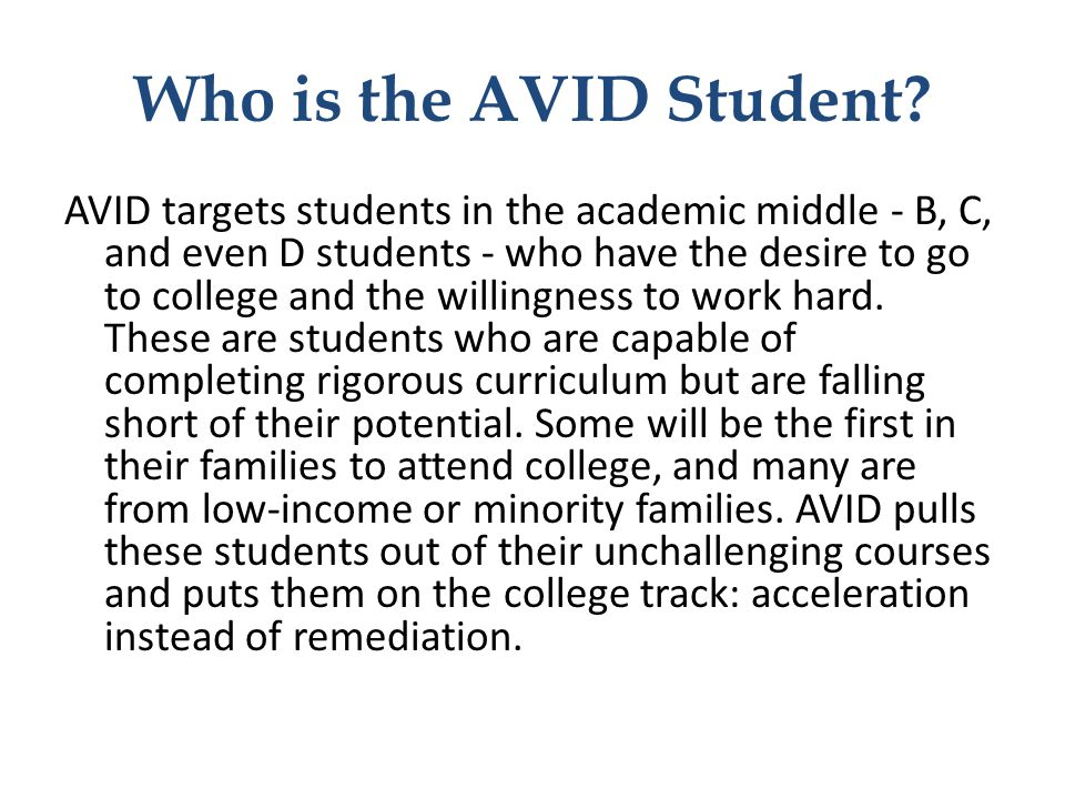Who is the AVID Student