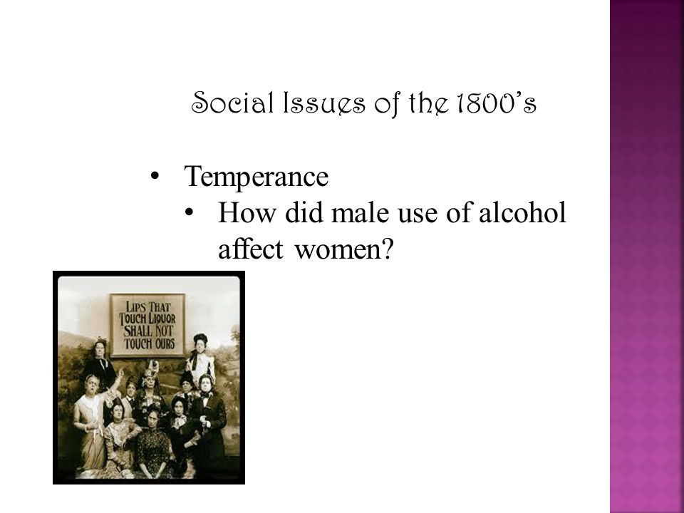 Social Issues of the 1800's Temperance How did male use of alcohol affect women