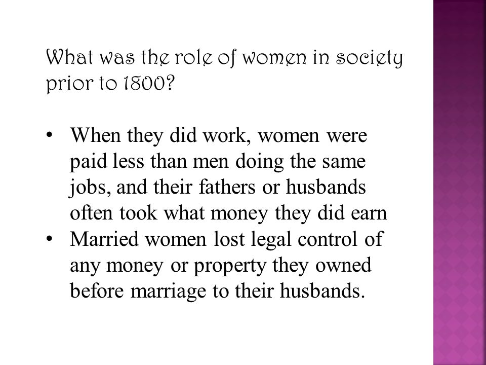 What was the role of women in society prior to 1800