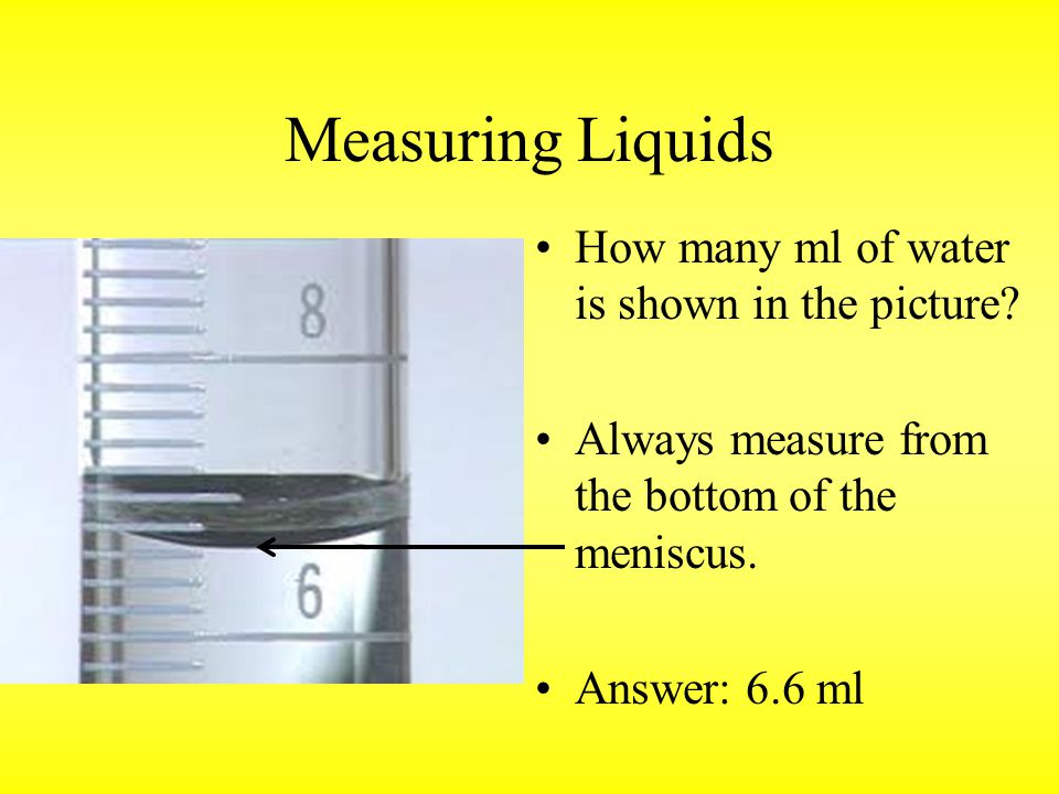 Measuring Liquids How many ml of water is shown in the picture