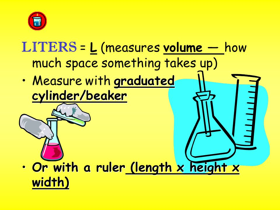 LITERS = L (measures volume — how much space something takes up)