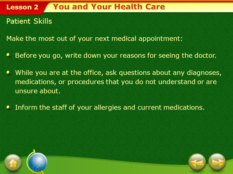 You and Your Health Care