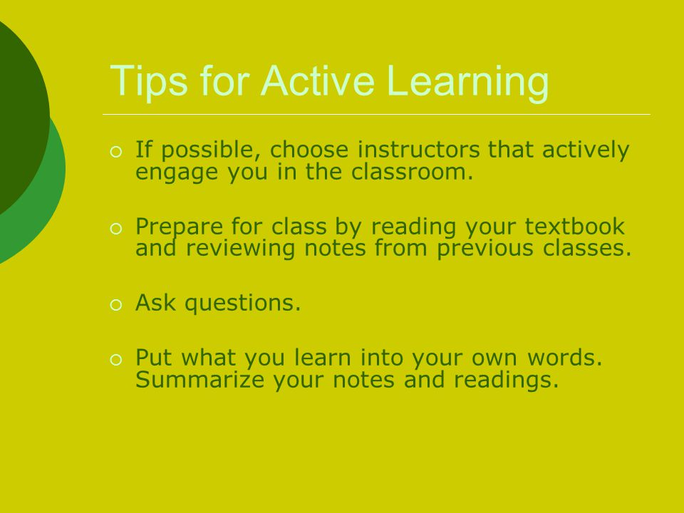 Tips for Active Learning