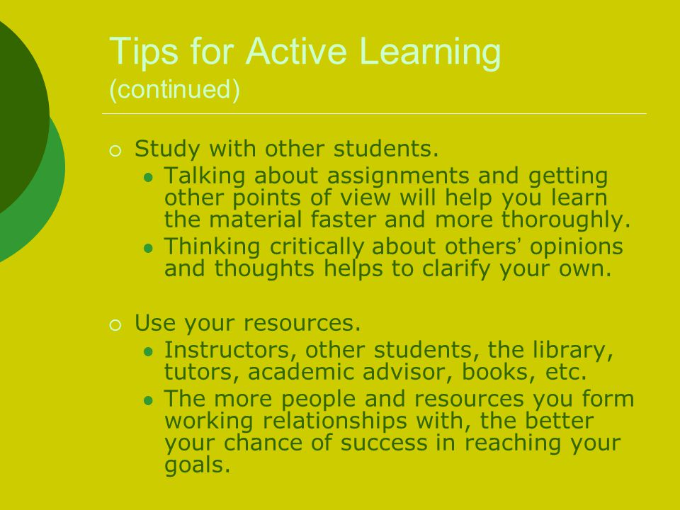 Tips for Active Learning (continued)