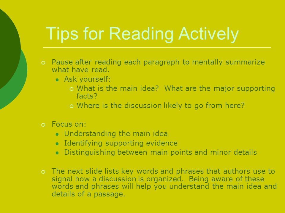 Tips for Reading Actively