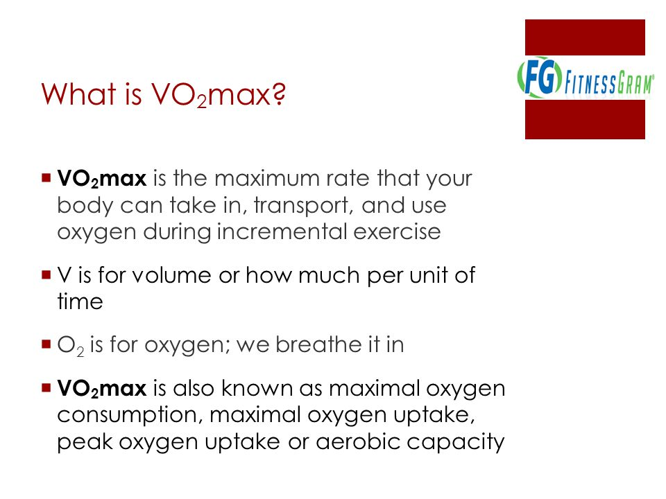 What is VO2max VO2max is the maximum rate that your body can take in, transport, and use oxygen during incremental exercise.