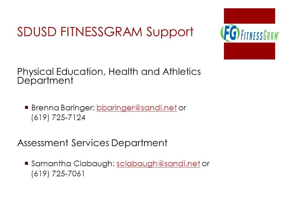 SDUSD FITNESSGRAM Support