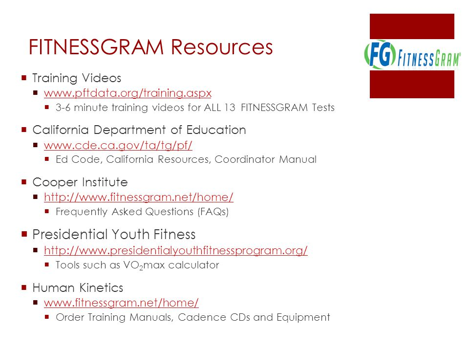 FITNESSGRAM Resources