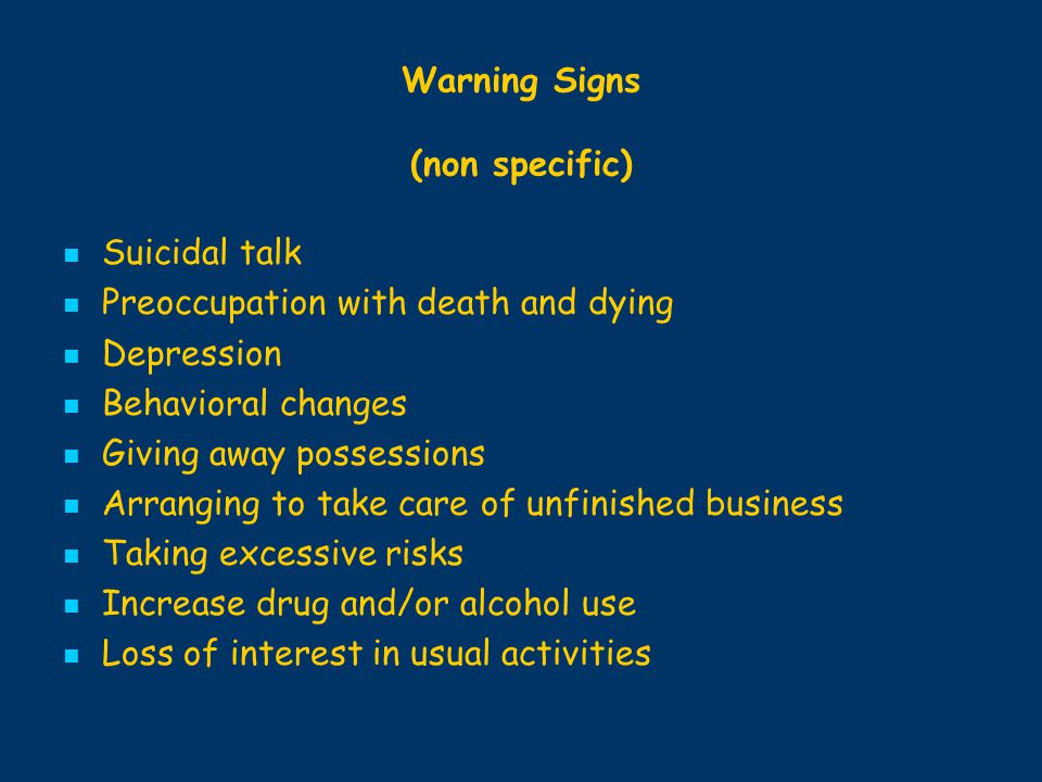 Warning Signs (non specific)