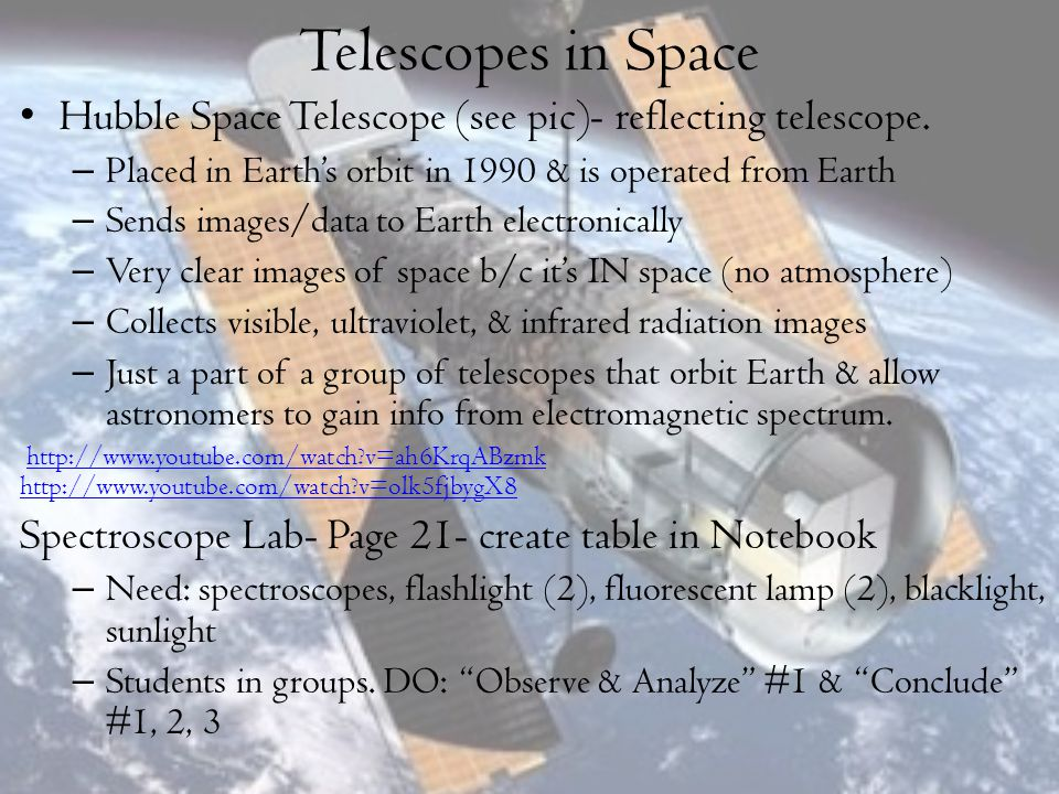 Telescopes in Space Hubble Space Telescope (see pic)- reflecting telescope. Placed in Earth's orbit in 1990 & is operated from Earth.