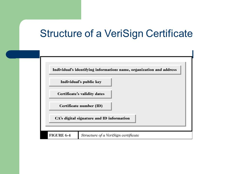 Structure of a VeriSign Certificate