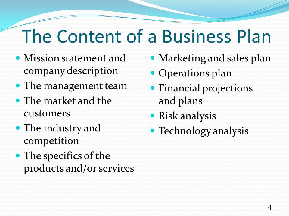 The Content of a Business Plan