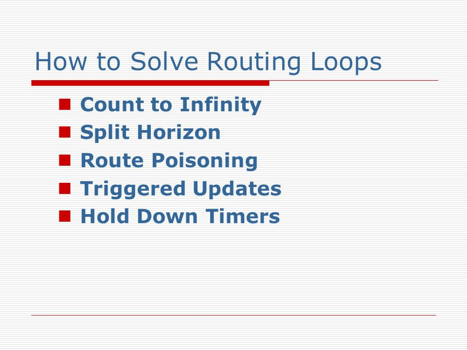How to Solve Routing Loops