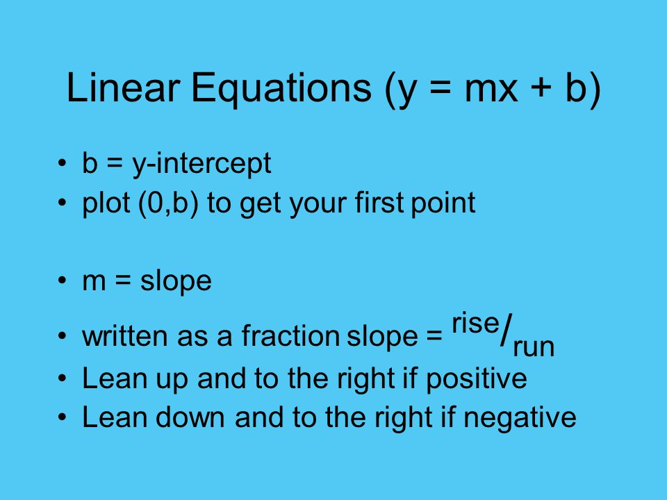 Linear Equations (y = mx + b)