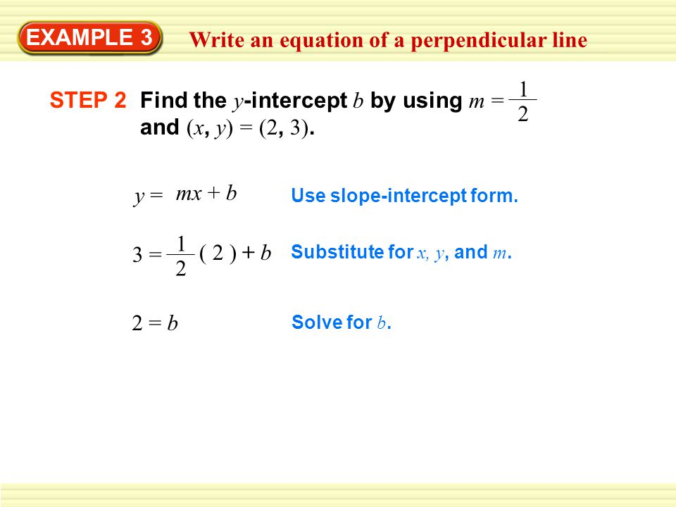 Write an equation of a perpendicular line
