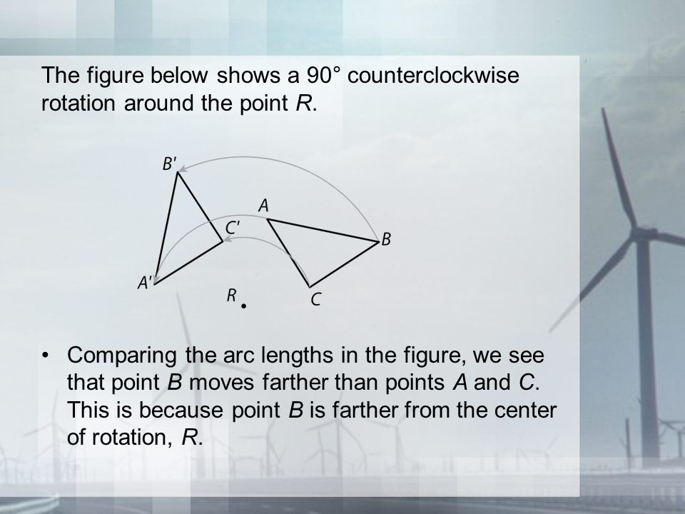 The figure below shows a 90° counterclockwise rotation around the point R.