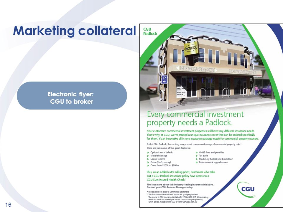 Marketing collateral Electronic flyer: CGU to broker