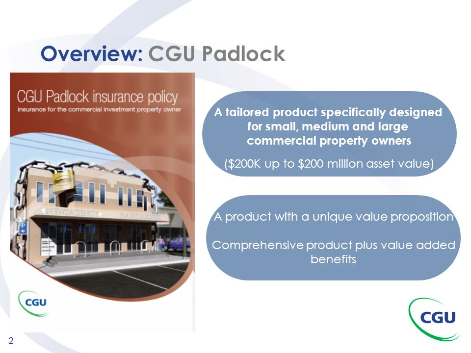 Overview: CGU Padlock A tailored product specifically designed