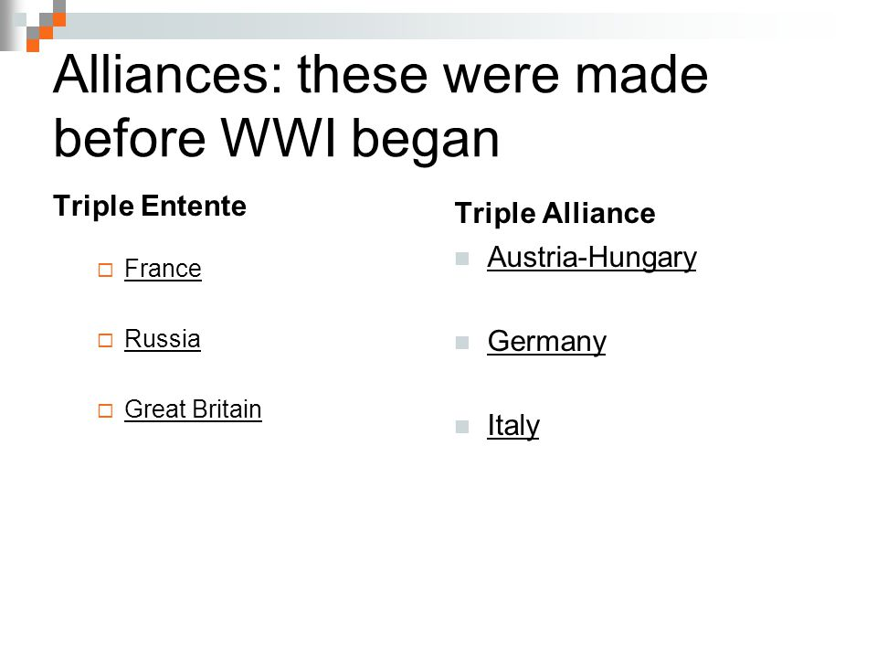 Alliances: these were made before WWI began