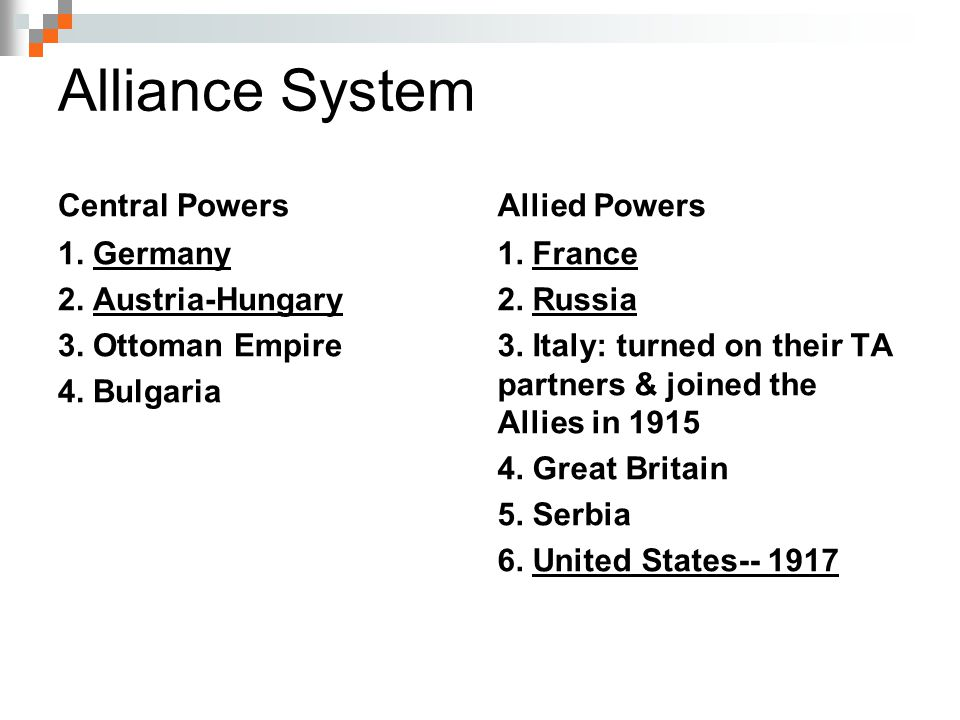Alliance System Central Powers Allied Powers