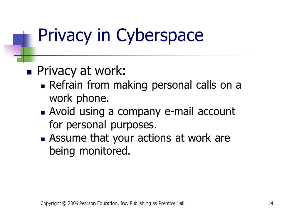 Privacy in Cyberspace Privacy at work: