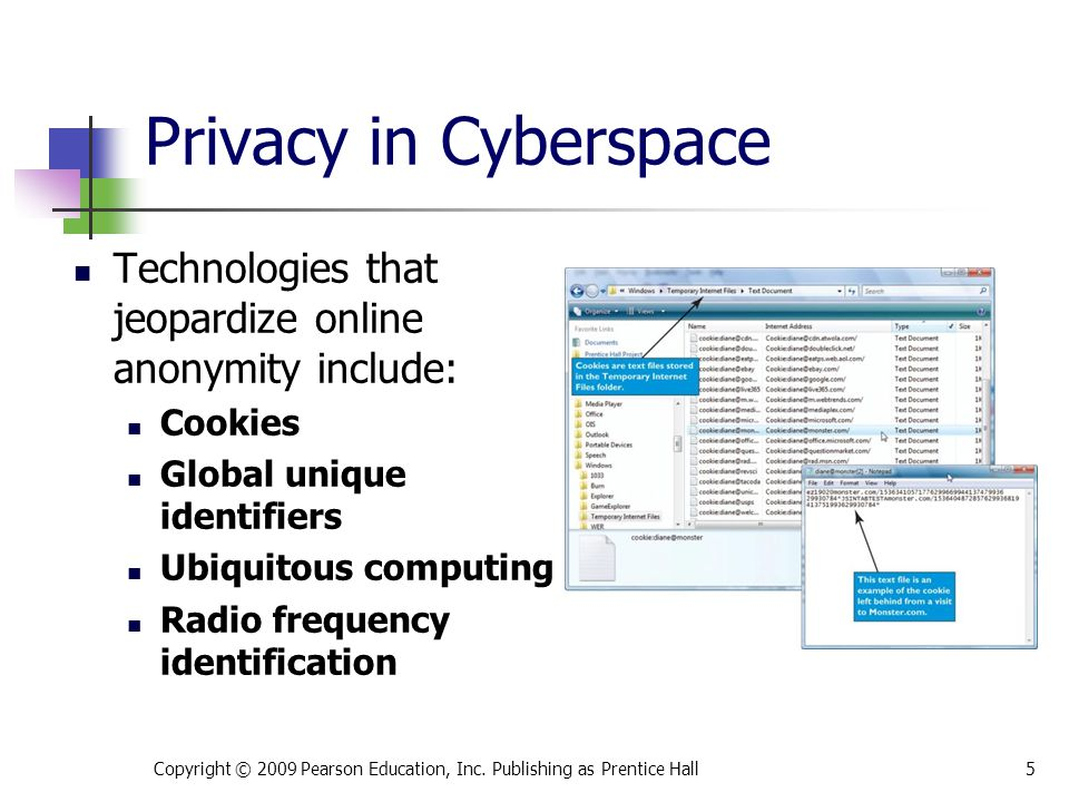 * 07/16/96. Privacy in Cyberspace. Technologies that jeopardize online anonymity include: Cookies.