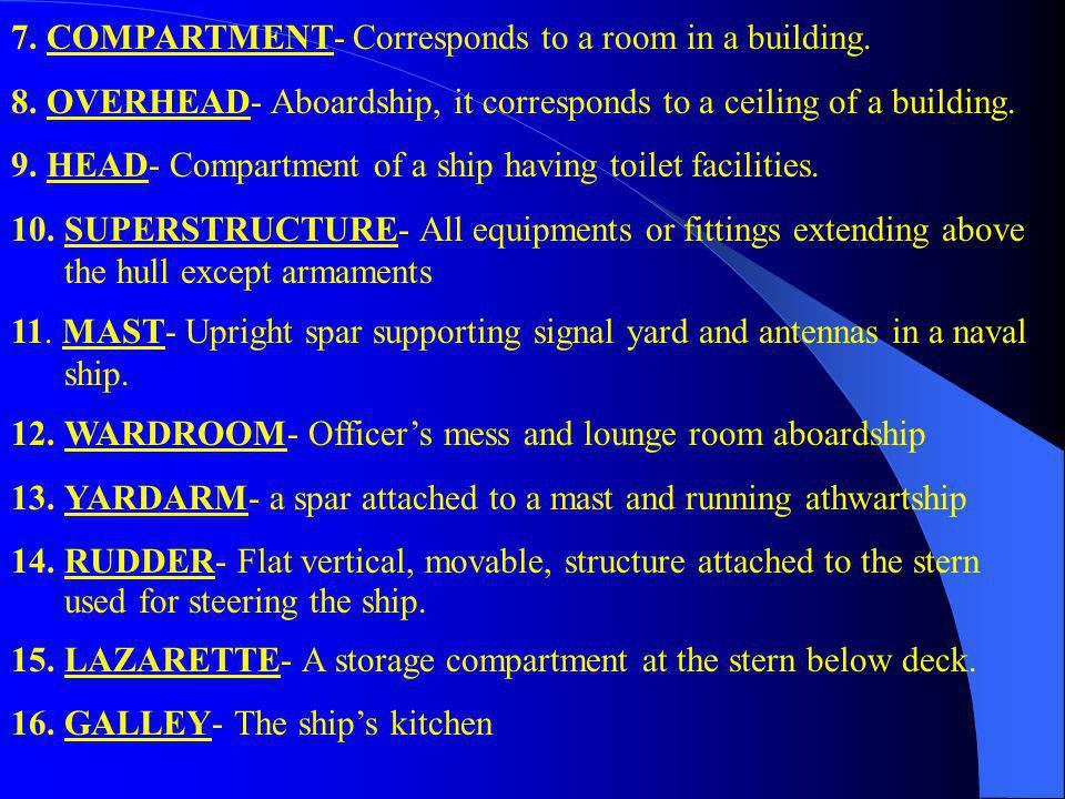 7. COMPARTMENT- Corresponds to a room in a building.