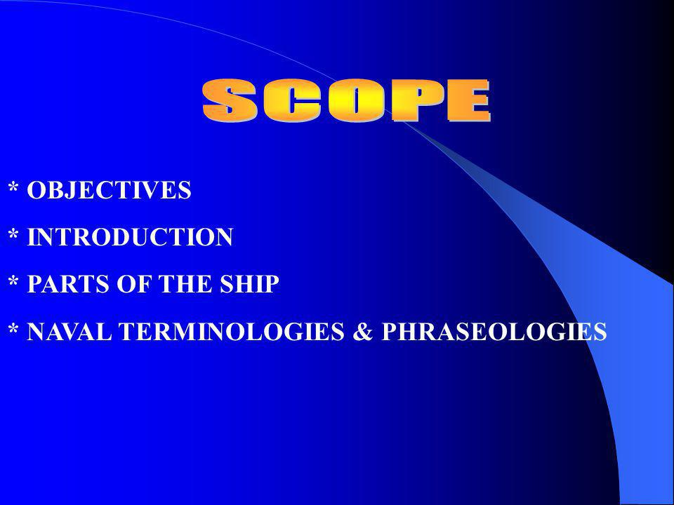 SCOPE * OBJECTIVES * INTRODUCTION * PARTS OF THE SHIP