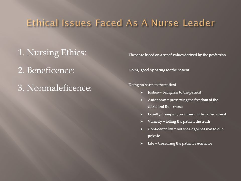 Ethical Issues Faced As A Nurse Leader