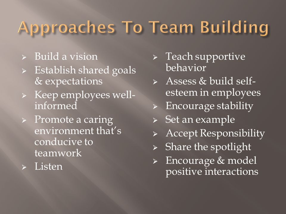 Approaches To Team Building