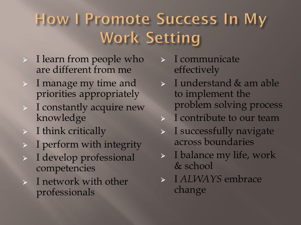 How I Promote Success In My Work Setting
