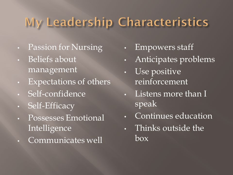 My Leadership Characteristics