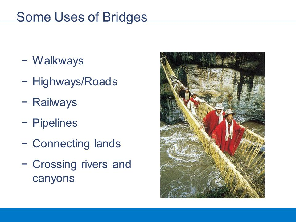 Some Uses of Bridges Walkways Highways/Roads Railways Pipelines