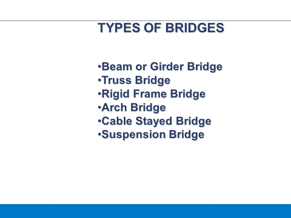 TYPES OF BRIDGES Beam or Girder Bridge Truss Bridge Rigid Frame Bridge