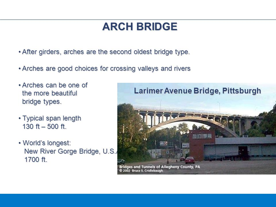 ARCH BRIDGE Larimer Avenue Bridge, Pittsburgh