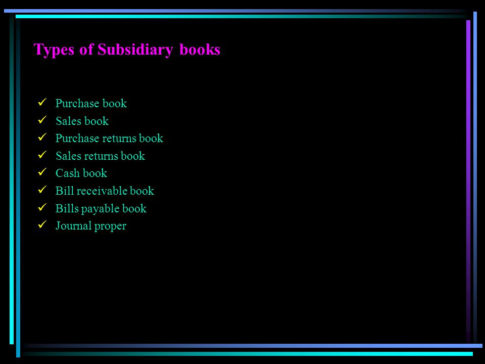 Types of Subsidiary books