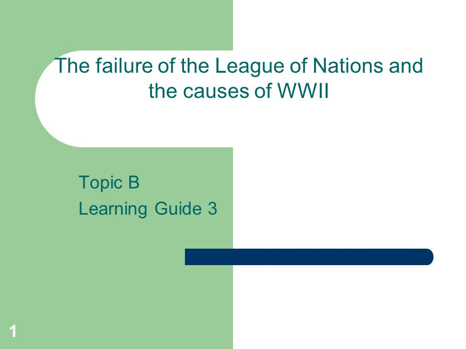 The failure of the League of Nations and the causes of WWII