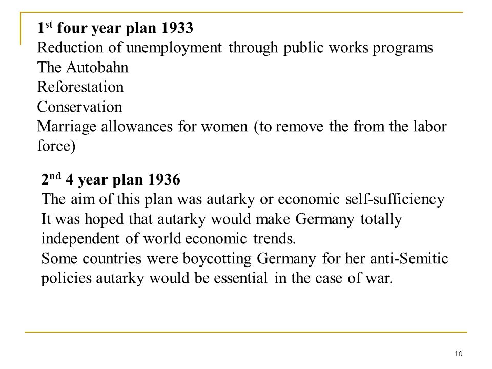 1st four year plan 1933 Reduction of unemployment through public works programs. The Autobahn. Reforestation.