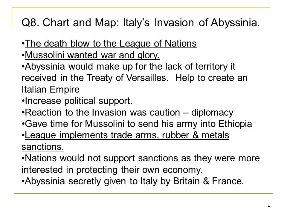 Q8. Chart and Map: Italy's Invasion of Abyssinia.
