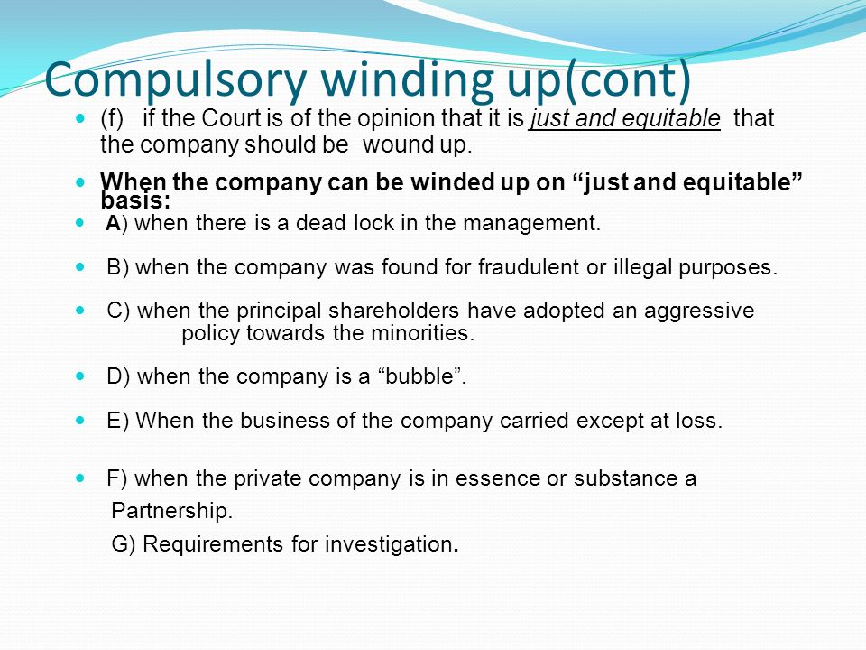 grounds for compulsory winding up of a company