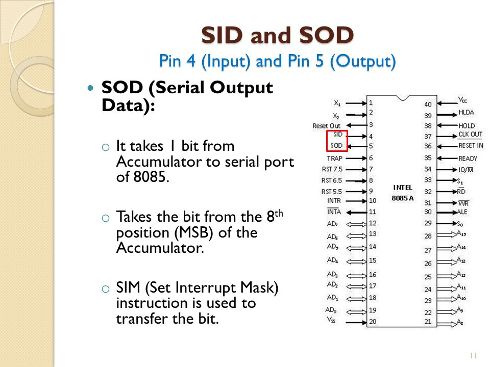 SID and SOD Pin 4 (Input) and Pin 5 (Output)