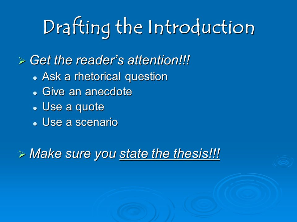 Drafting the Introduction