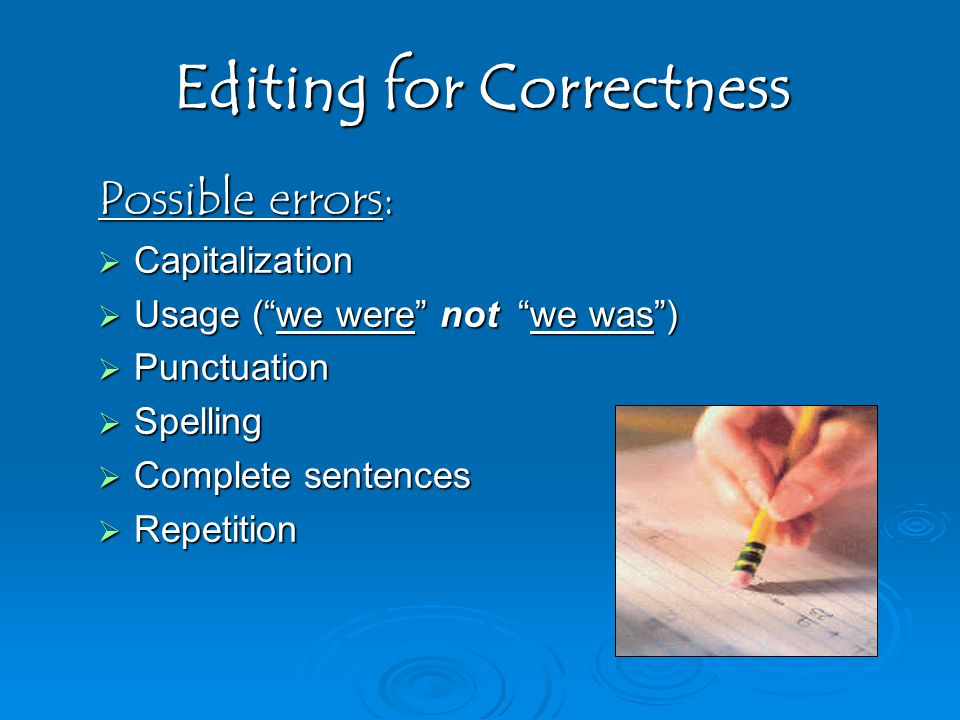 Editing for Correctness