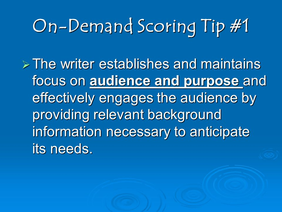 On-Demand Scoring Tip #1
