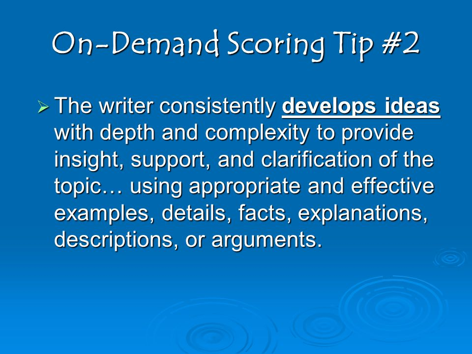 On-Demand Scoring Tip #2
